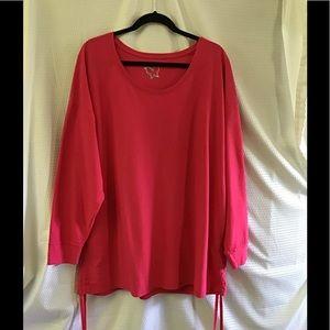Pink Long Sleeve T-shirt w/ Drawstring Sides